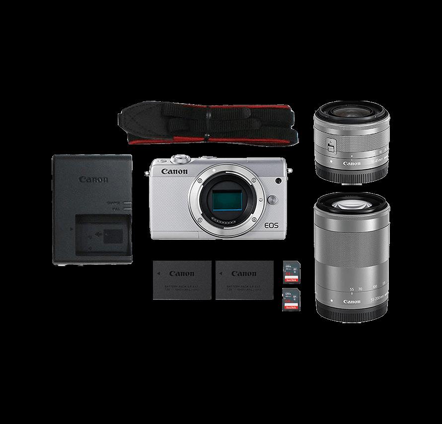 Canon EOS M200 標準&望遠レンズセット ホワイト ミラーレス一眼カメラレンタル