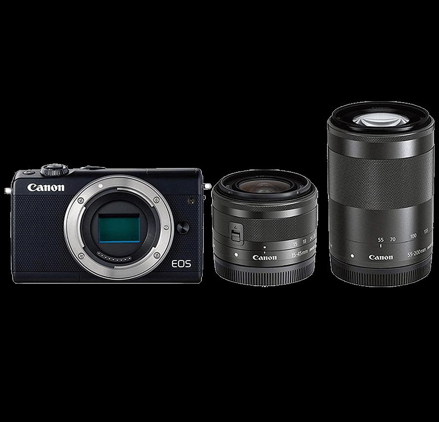 Canon EOS M200 標準&望遠レンズセット ブラック ミラーレス一眼カメラレンタル